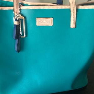 Coach green leather tote